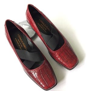 Donald J Pliner Red Patent Leather Loafers